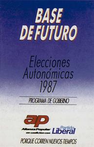 Conservadorisme. Fulletó de propaganda electoral del partit Aliança Popular per a les eleccions de 1987.