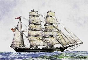 Una corbeta, en un dibuix de Ramon Sampol Isern.