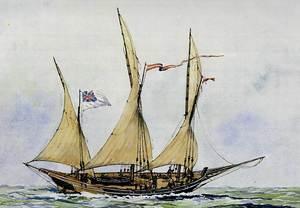 Cors. Xabec armat amb bandera anglesa, típic vaixell corsari. Extret d´<em>Els velers de les illes Balears</em>.