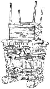 """Un cubell amb el fonyador damunt, dibuix de l´article de Cristina Miguélez Ramos """"Agricultura Tradicional en Ibiza""""."""