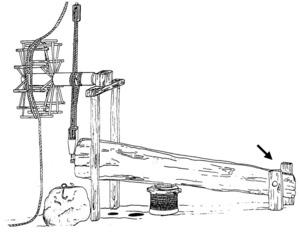 Un trull de torn. La fletxa assenyala les cuixeres. Dibuix: Cristina Miguélez Ramos.