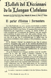 """Portada del <em>Bolletí del Diccionari de la Llengua Catalana</em>, on apareix l´article de dialectologia """"El parlar d´Eivissa i Formentera"""", d´Antoni Griera, 1913."""