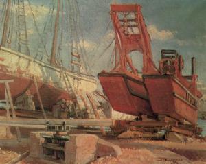 Una draga a l´antic varador situat vora la carretera de Sant Joan, segons una pintura de Josep Tarrés.