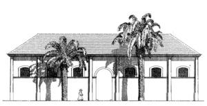 Fa&ccedil;ana principal de l´antic escorxador de Vila, acabat l´any 1896. Extret d´<em>Eivissa, el palau pag&egrave;s</em>.