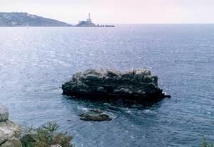 L´escull Daurat, a la vora de la torre del Mar, a la badia d´Eivissa.