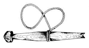 Dibuix d´un collidor, aparell amb el qual l´espart no es talla, sinó que s´arrenca i així no es fa malbé la planta. Foto: cortesia de la revista <em>Eivissa</em>.