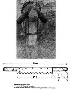 Fil de pitra. A dalt, dona realitzant l´operació de rascar i pentinar la fulla de la pitrera. A baix, el rascador de pitra, que és de ferro i presenta dents com les d´una serra. Foto i dibuix: Cristòfol Gueral d´Arellano Tur / revista <em>Eivissa</em>.