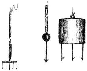 Diversos tipos de fitores: fitora, arpó i fitora de fons. Dibuix: Antoni Prats Calbet.