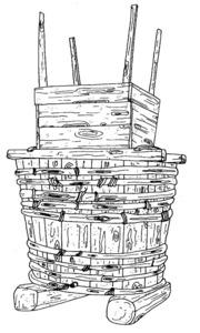 El fonyador és un atuell dins el qual va aixafant-se el raïm amb els peus. Extret de <em>La arquitectura tradicional en Ibiza</em> / Cristina Miguélez.