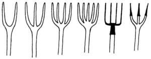 """Forques de diversos tipus, amb un nombre de forcons variable i fetes de diferents materials. Dibuix: Vicent Marí Serra """"Palermet""""."""
