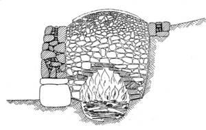 Dibuix d´un forn de calç durant la cocció, que pot durar entre 20 i 60 hores, depenent de la pedra utilitzada.
