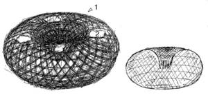 Dibuix d´un gambí: 1 buc i afàs i 2 trossos de plat. Dibuix: Antoni Prats Calbet.