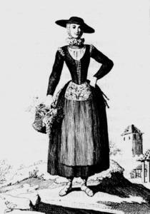 Dibuix de Juan de la Cruz (1778-84), amb una pagesa eivissenca vestida amb gipó. Extret de <em>Colección de trajes de España</em>.