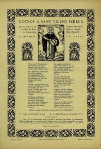 Goigs dedicats a Sant Vicent Ferrer.