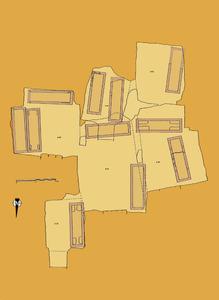 Plànol d´un hipogeu múltiple. Cortesia del Museu Arqueològic d´Eivissa i Formentera.