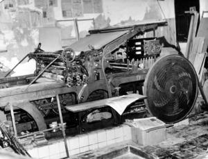 Antiga màquina d´impremta que havia emprat el <em>Diario de Ibiza</em>. Foto: Josep Buil Mayral.