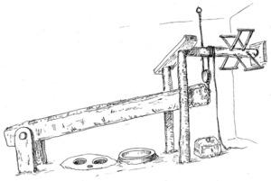 La biga o jàssena d´un trull, en un dibuix d´Antoni Prats Calbet.