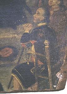 Pintura on es veu un personatge vestit amb una jupa.