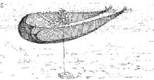 Dibuix d´Antoni Prats Calbet de l´ormeig de pesca conegut com llampuguera.