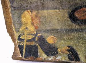 Detall de les pintures de la trona de l´església de Sant Antoni de Portmany (1769), on es veu el sistema de subjecció d´unes mànegues independents. Foto: Lena Mateu Prats.