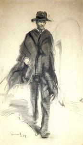 Un dibuix d´Antoni Pomar d´una figura d´home amb mantó negre.
