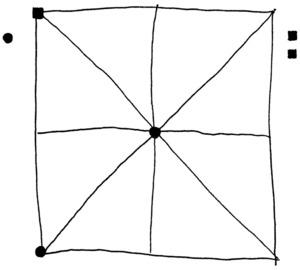 Dibuix del quadrat del joc anomenat al marro. Joan Josep Guasch Torres / Vicent J. Torres Móra.