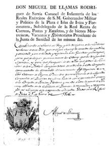 Un document del governador Miguel de Llamas, on apareixen instruccions sobre la milícia.