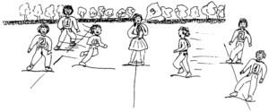 Dibuix que representa el joc del mocadoret. Dibuix: Joan Josep Guasch Torres / Vicent J. Torres Móra.