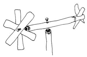 Dibuix d´un molinet de canyaferla. Elaboració: Joan Josep Guasch Torres / Vicent J. Torres Móra.