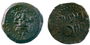 Moneda punicoebusitana trobada al tresoret de can Joan d´en Cama (Sant Llorenç de Balàfia). Foto: Museu Arqueològic d´Eivissa i Formentera.