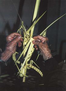 Trenat de palmes, que es beneeixen el Diumenge dels Rams, que inicia la pasqua. Extret de <em>La llata en el món rural pitiús.</em>