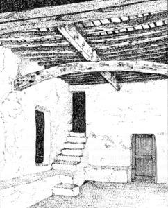 Dibuix on es pot apreciar una perllonga, biga gruixuda que sosté transversalment l´embigat, en aquest cas reforçada amb un asenet. Dibuix: Valérie Gevers / extret d´<em>Eivissa el Palau Pagès</em>.