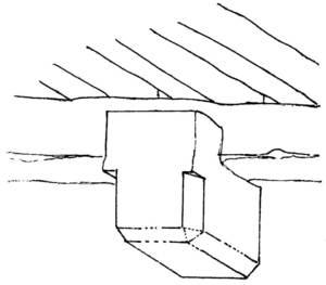El permòdol actua com a reforç de les bigues d´un sostre. Dibuix: Valérie Gevers / extret d´<em>Eivissa el Palau Pagès</em>.