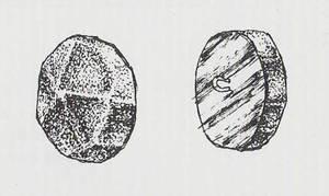 Botó de pic de martell, generalment de plata, ben freqüent a la indumentària pitiüsa. Foto: extret de <em>La joyería ibicenca</em>.