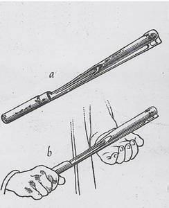 Picacanyes i demostració pràctica de la forma de fer-los sonar. Dibuix: R. Violant i Simorra.