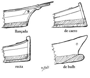 Diversos tipus de proa, segons dibuix d´Antoni Prats Calbet.