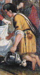 Punyal penjant de la cintura d´un pastor a l´escena de l´adoració del Bon Jesús, de la trona de Sant Josep de sa Talaia. Foto: Lena Mateu Prats.