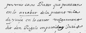 Fragment del capbreu de les rendes reials de 1577, conservat a l´Arxiu del Regne de Mallorca, en el qual pot llegir-se la paraula arrabat.