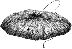 L´ormeig de pesca fet de xarxa conegut amb el nom de rall. Dibuix: Antoni Prats Calbet.