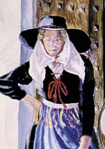 """Detall d´una eivissenca amb vestit de clauer i """"carotica"""", que evoca el rebosillo (aquarel·la de l´Escola de Ceràmica de Madrid, 1933)."""