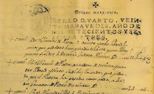 Document de 1763 del notari J. Sala en què apareix la descripció d´un reliquiari.
