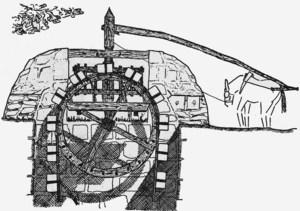Dibuix d´una sénia, amb la roda en primer terme. Dibuix: Th. Schiøler.
