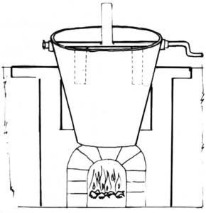 Caldera per fer bullir els ingredients. Dibuix: Dionisio García Cueto.