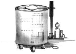 Dipòsit amb pales per moure el sabó fort en calent. Dibuix: Dionisio García Cueto.