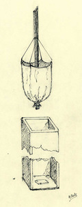 Dibuix d´Antoni Prats Calbet de la bomba d´aigua manual coneguda com sanduc.