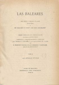 Sociologia. <em>Las Baleares</em> (1890) de l´arxiduc Llu&iacute;s Salvador d´&Agrave;ustria, obra destacada pel seu valor sociol&ograve;gic.