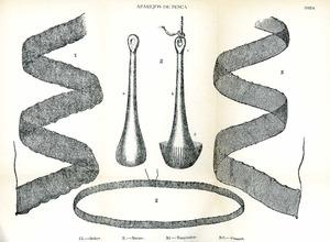 Diversos ormejos de pesca eivissencs, dibuixats per l´arxiduc Lluís Salvador. La solta és la xarxa circular de la part inferior del dibuix. Extret de <em>Las Baleares - La pesca</em>.