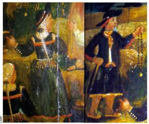 A les pintures de la trona de l´església de Sant Josep es poden observar mostres de la indumentària que s´utilitzava a la pagesia eivissenca al s. XVIII. Foto: Lena Mateu Prats.