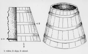 Dibuix d´un vidre, instrument per veure el fons de la mar. Dibuix: Antoni Prats Calbet.